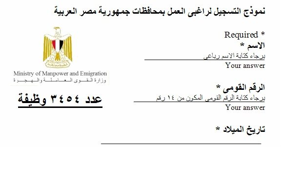 وزارة القوى العاملة تعلن عن 3454 وظيفة شاغرة مؤهلات عليا و متوسطة - STJEGYPT