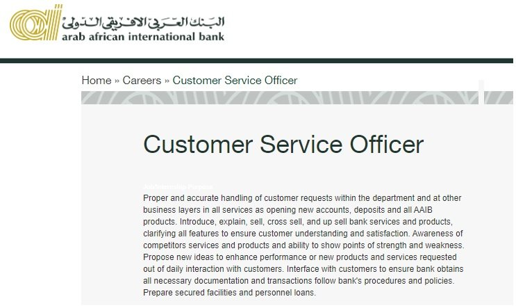 Customer Service Officer at AAIB - STJEGYPT
