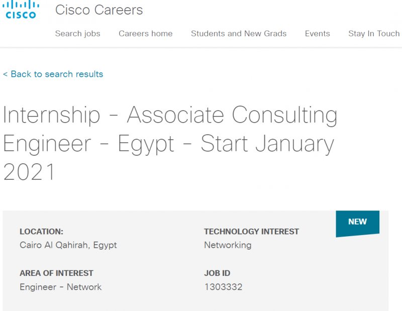 Internship - Associate Consulting Engineer - Egypt - Start January 2021 - STJEGYPT
