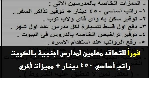 وظائف مدارس الكويت معلمين لمختلف التخصصات براتب أساسي 450 دينار + مميزات أخري - STJEGYPT
